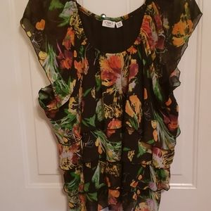CATO 26/28  FLORAL TOP RUFFLED TIERED BLACK ORANGE